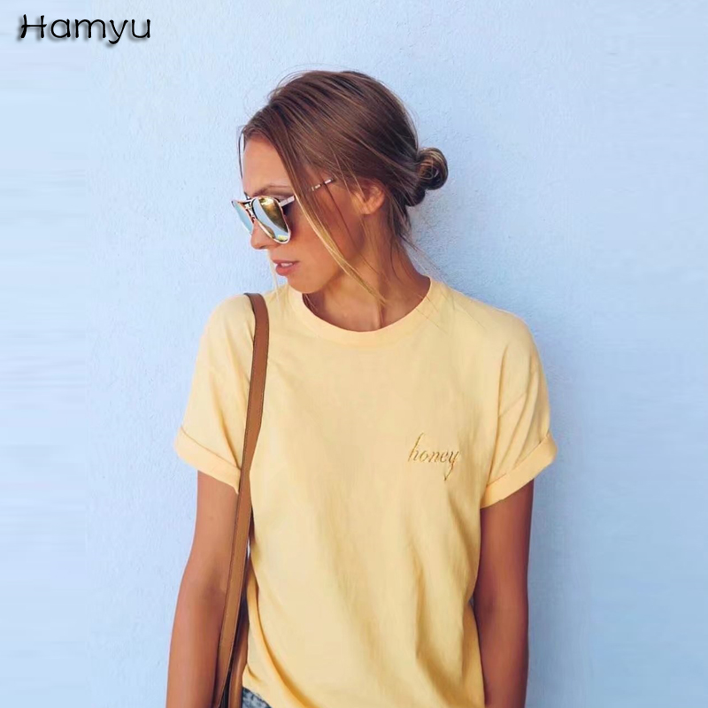 2018 New Fashion Summer Wome Classic Design Letter Embroidery Top Tees Cotton Western Street Style O-neck Short-sleeve T-shirts