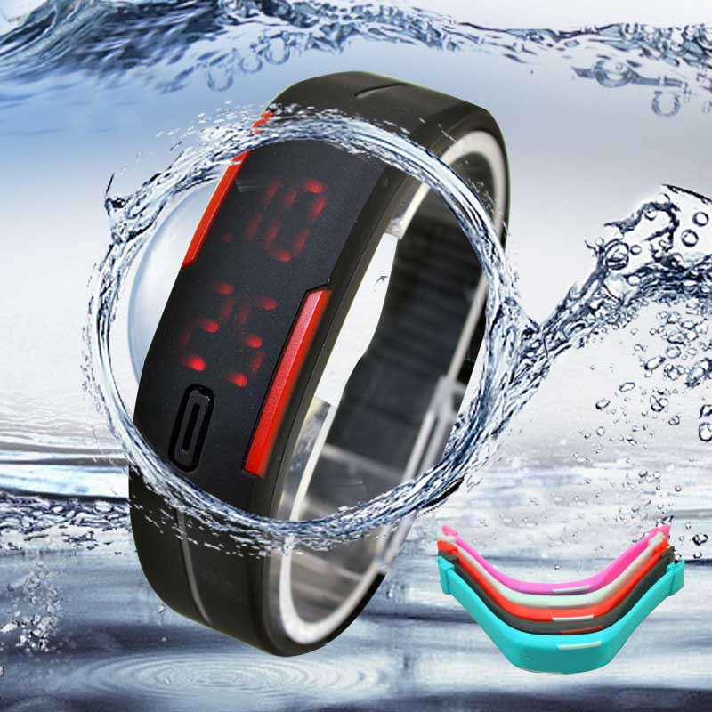 Fashion Ultra Thin Men Girl Sports Silicone Digital LED Sports Bracelet Wrist Watch
