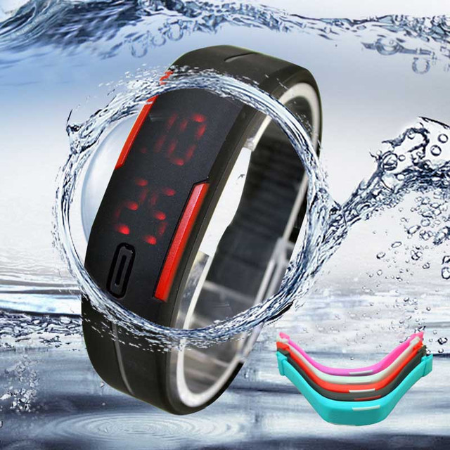 Fashion Ultra Thin Men Girl Sports Silicone Digital LED Sports Bracelet Wrist Wa
