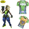 \Line Walker\  T-shirt OW cosplay character AZUL LUCIO Watch Over Men Tight T Shirt gymshark compression shirt titness