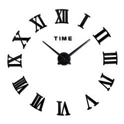 new hot acrylic mirror wall stickers wall clock clocks modern home decora living room circular Roman numerals quartz sticker
