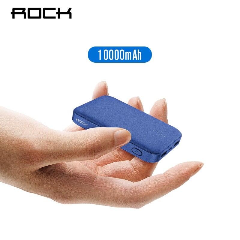 ROCK Mini banco de potencia 10000 mAh cargador de batería externo portátil cargador Dual USB Powerbank para iphone X Samsung Xiaomi