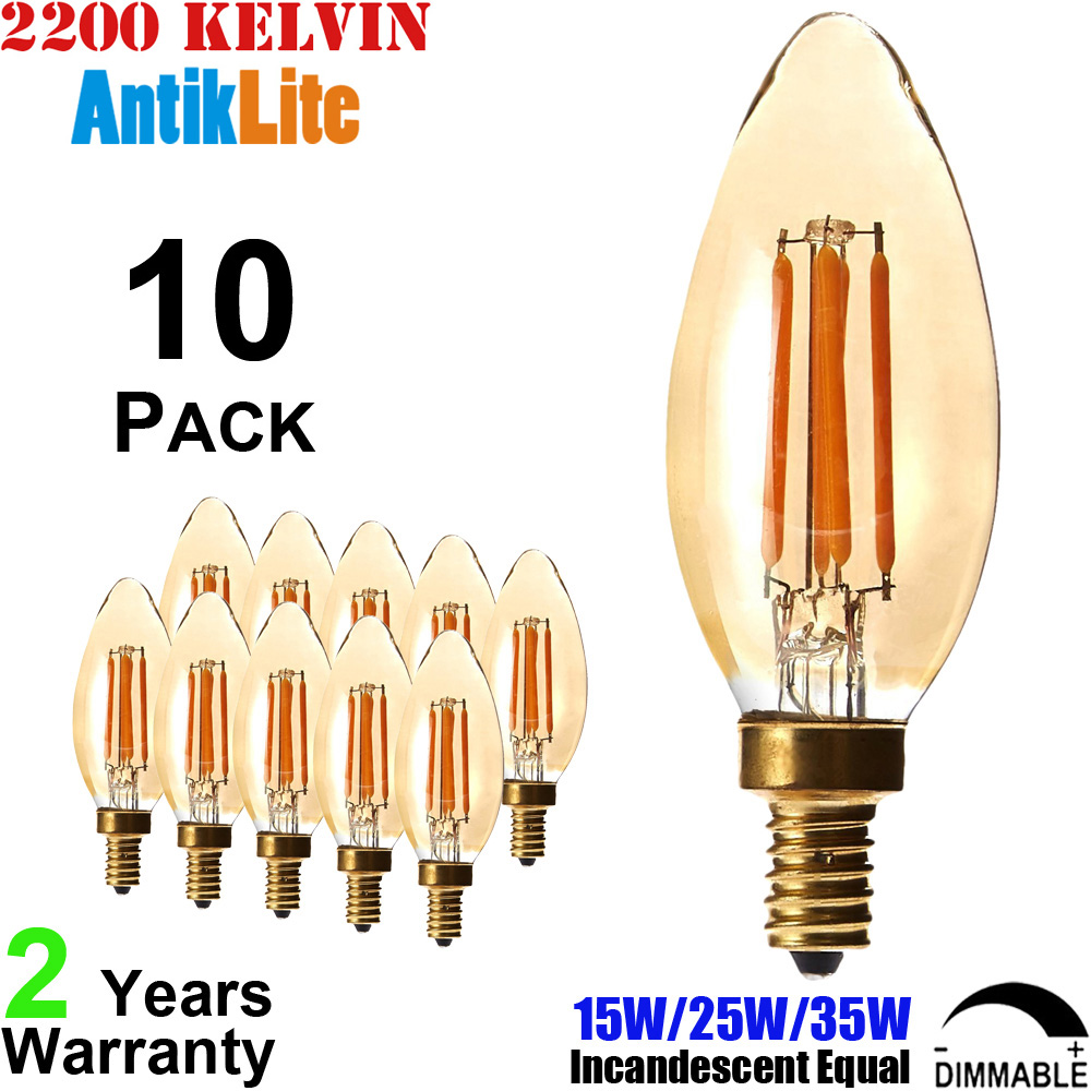 2200K Home Decoration 220V Dimmable LED Light Bulb C35 Amber Glass 2W 4W 6W E14 LED Filament Pendant Edison Light Bulb 2700K B35