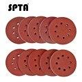SPTA 100 шт. 5-дюймовая шлифовальная Песочная бумага 125 мм  диски с 8 отверстиями  грит 40 #-2000 # для вращающихся инструментов  шлифовальная Песочная...