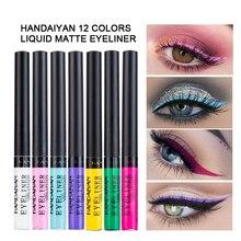 12pcs/set HANDAIYAN Colorful Matte Liquid Eyeliner Tint Eyes Makeup Waterproof Long-lasting Smooth Eye Liner for Party Cosmetics