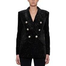 European style women double breasted velvet jackets coat Chic elegant Blazers D753