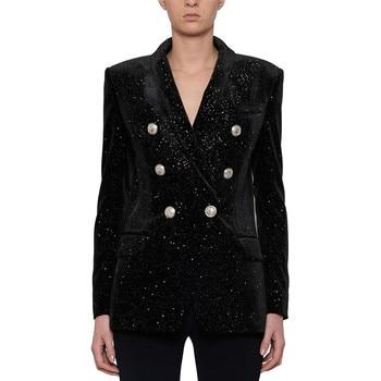 European style women double breasted velvet jackets coat Chic elegant Blazers jackets D753