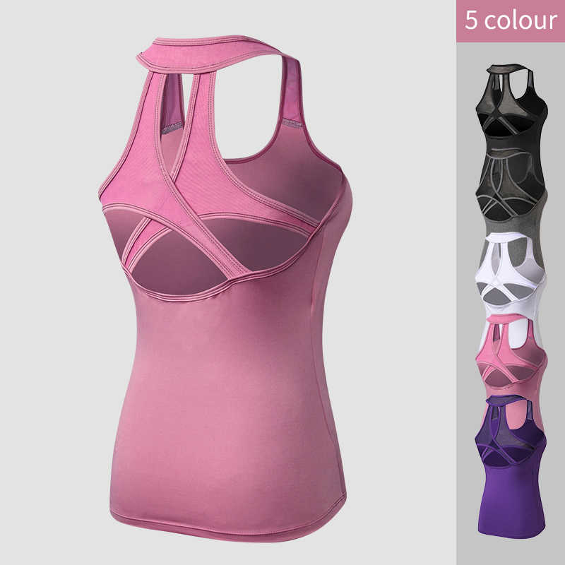 2019 Yoga Tops chaleco mujer deportes Top tanque Duick seco Fitness Mujer Deporte Camiseta gimnasio Yoga Tops mujer camiseta camiseta sin mangas de Yoga
