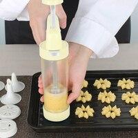 16 pçs/set Biscoito Extrusora Press Machine Biscuit Mould Fazer Bolo Decorando Arma Ferramentas de Panificação Pastelaria