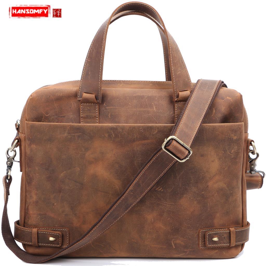 2018 New Men's Handbag Genuine Leather Business Briefcase Casual Fashion Shoulder Slung Retro Men's Messenger 14
