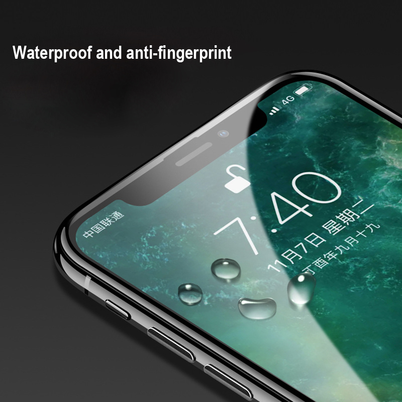 6D Full Cover Tempered Glass Screen Protector for iPhone X Anti Explosion 9H Glass Film for iPhone 10 Full Body Film Black in Phone Screen Protectors from Cellphones Telecommunications