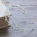 Moda Feminina hairband strass Tiara da princesa da menina hairwear pérola jóias de cristal acessórios do casamento de noiva headpiece nm08