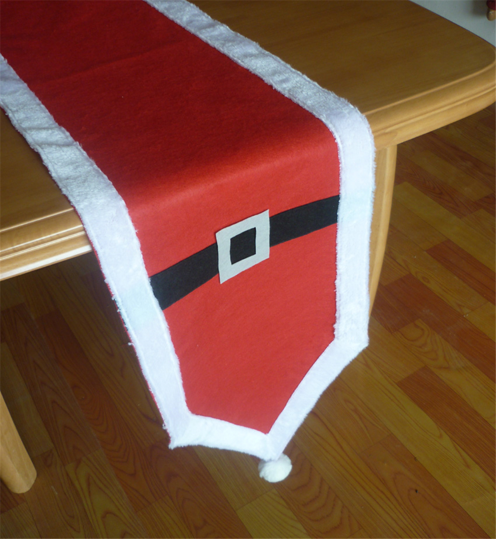 Red Christmas Table Runner Gold Silver Belt Decoration Polyester