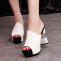 2017 New Arrival Summer Women Clear Heels Sandal Fish Head High Heels Platform Slippers Fashion Red/White/Black Party Shoe XJ308