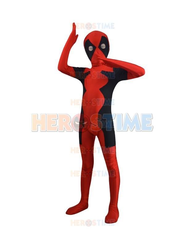 Kids Deadpool Costume Spandex Fullbody Superhero Zentai Suit Children Deadpool Costume For Halloween Cosplay Free Shipping