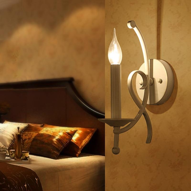 ФОТО Fashion nordic wrought iron bedroom wall lamp, country living room study sconce light, corridor stair wall lights