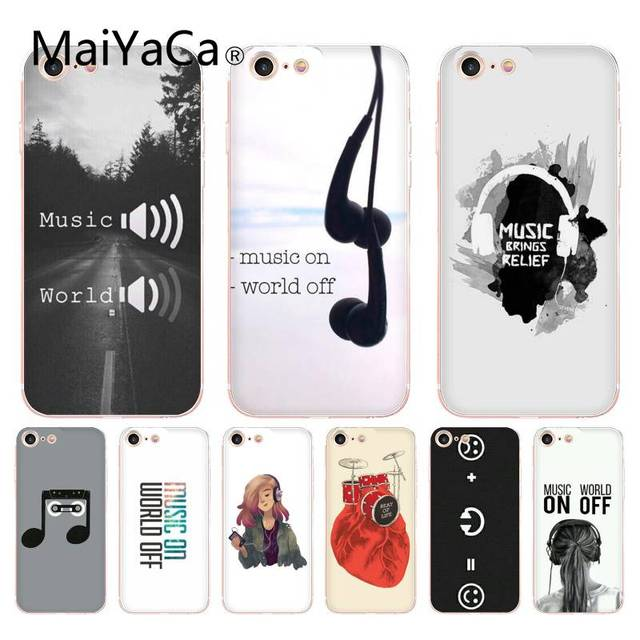 best loved f4511 0b6ae US $1.18 8% OFF|MaiYaCa For iphone 7 6 X Case Music on World Off  Transparent Coque Shell Case for iPhone 8 7 6 6S Plus X 10 5 5S SE 5C XS  XR-in ...