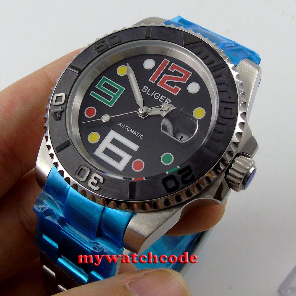 40mm Bliger black dial ceramic bezel date window automatic mens watch B59