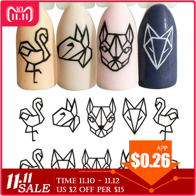 1 Sheet Water Nail Stickers Black Cartoon Animal Flamingo Fox Hollow Designs Sliders For Nail Decals DIY Manicure