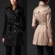 Black khaki red woman spring coat England Double-breasted slim trench coats for womens star style dress female british style 2XL