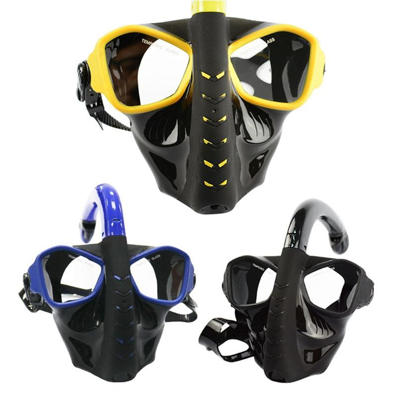 LumiParty Full Face Snorkeling Mask Anti Leaking Anti Fogging Dry Snorkel Diving Mask Underwater Swimming Training