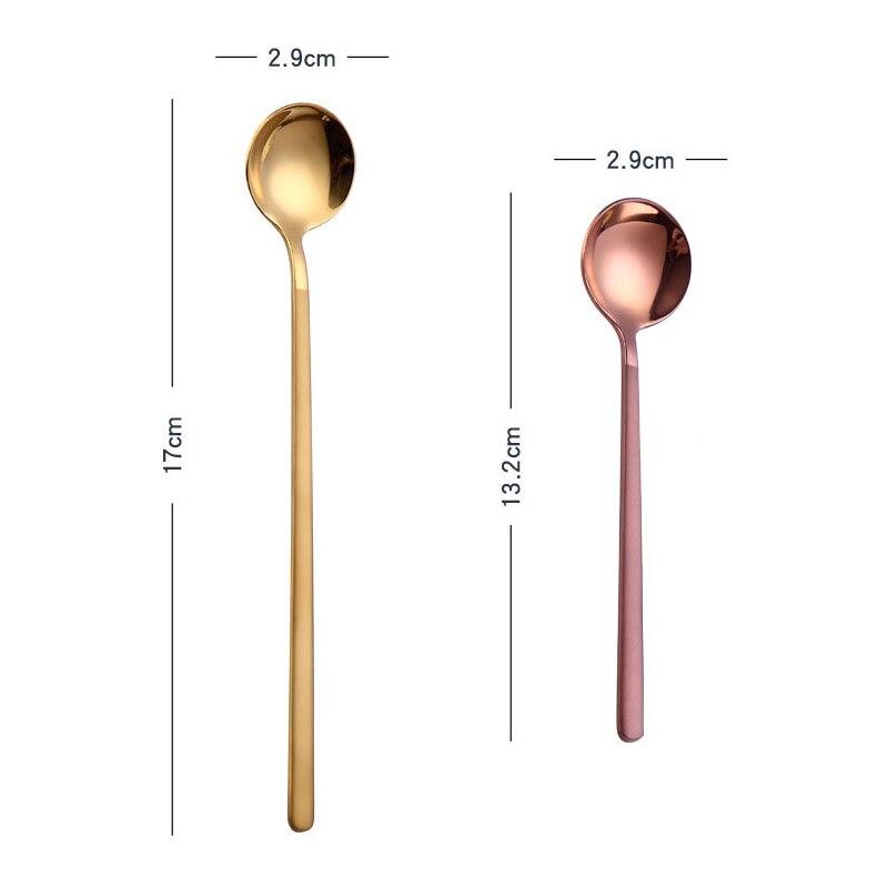 4 Colors Stainless Steel Short Handle Spoon Teaspoon for Coffee Dessert FG