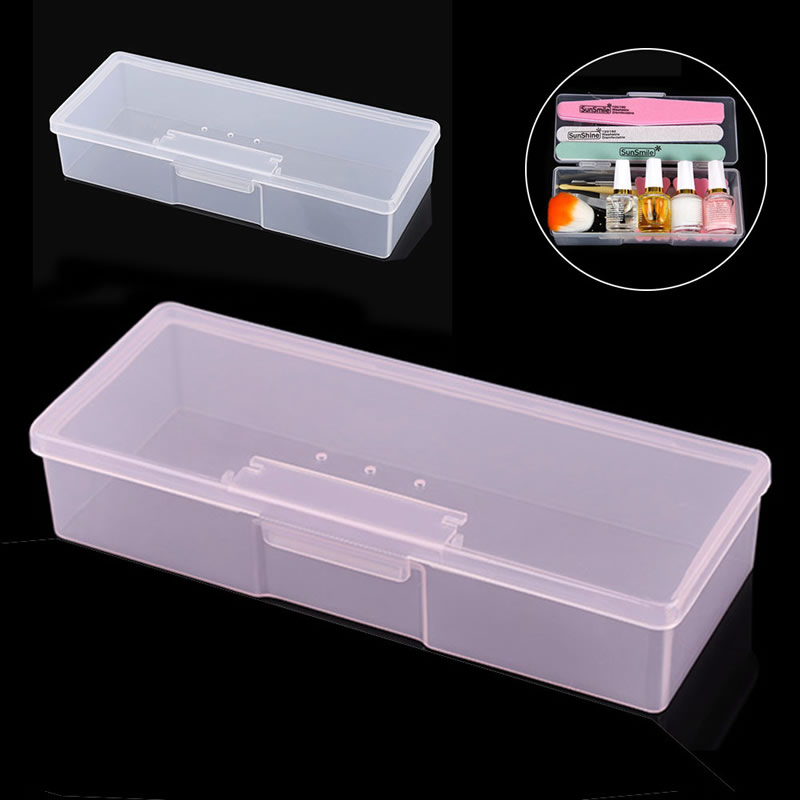 New Transparent Empty Nail Storage Box Manicure Tools Organizer Case Holder Pink/White