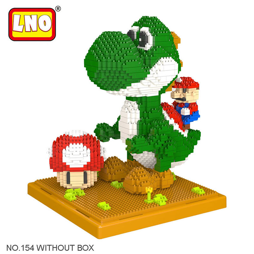 LNO Hobbies Self-assembly Building Blocks Super Mario Yoshi Action Figure Diamond Micro Bricks Big Size Anime Cartoon Kids Toys loz super mario kids pencil case building blocks building bricks toys school utensil brinquedos juguetes menino jouet enfant