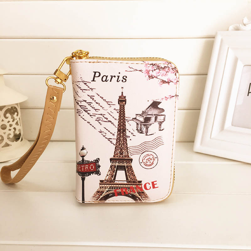 Retro Two Fold Eiffel Zip Short Mini wallet Women Clutch PU leather wallet purse fresh Ladies wallet coin purse Female money bag stuffed animal 145cm plush tiger toy about 57 inch simulation tiger doll great gift w014