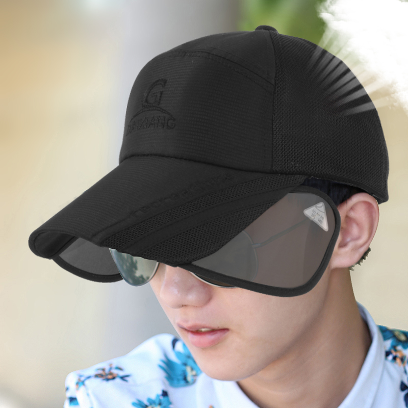 Hat male baseball cap summer hat brim retractable sunbonnet uv sun hat outside sun hat summer can be folded anti uv sun hat sun protection for children to cover the sun with a large cap on the beach bike travel