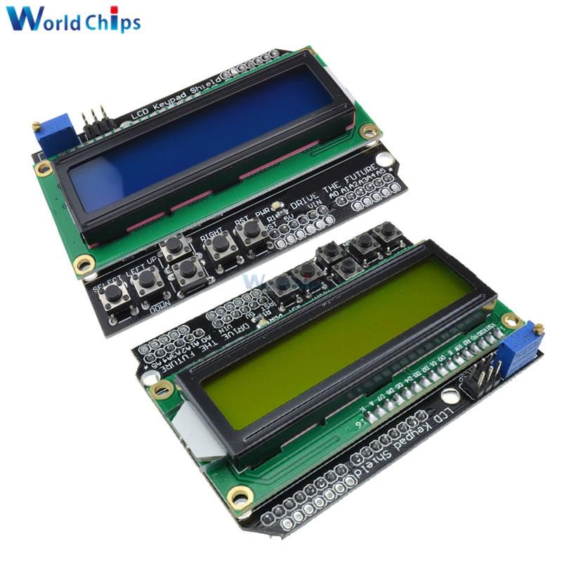 Lcd teclado escudo lcd1602 lcd 1602 módulo de exibição para arduino atmega328 atmega2560 raspberry pi uno azul/tela amarela diymore