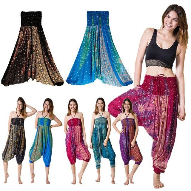 MUQGEW calca feminina 2018 Women Casual Summer Loose Trousers Baggy Boho Aladdin