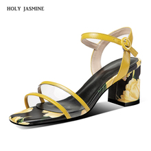 New Fashion Chunky High Heels Ladies Sandals Peep Toe Silk Polka Dot Print Crystal Thick Heel Summer Wedding Shoes Women Sandals