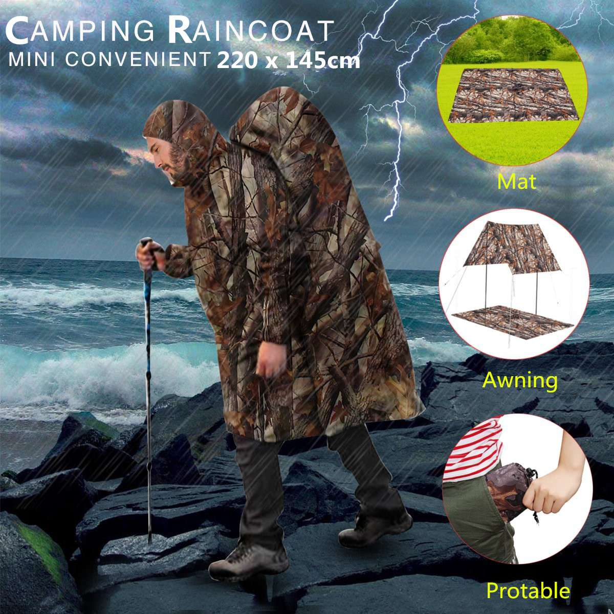 3 In 1 outdoor rain tool camping survival Military Travel ...