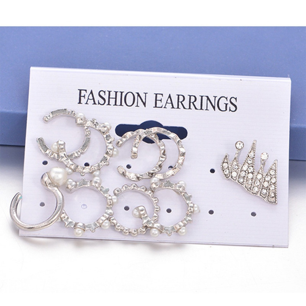 9pcs/Pack Boho Silver Plated Ear Cuffs For Women Statement Ear Jewelry Simulated Pearl/Rhinestone Clip Earrings Set