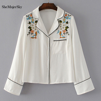 SheMujerSky Embroidery Women Blouses Pajamas Style Floral White Tops Female Shirt Body Feminino 2017