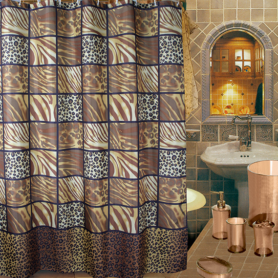 Classic Shower Curtain Leopard Print Waterproof Coating Terylene 180180cm