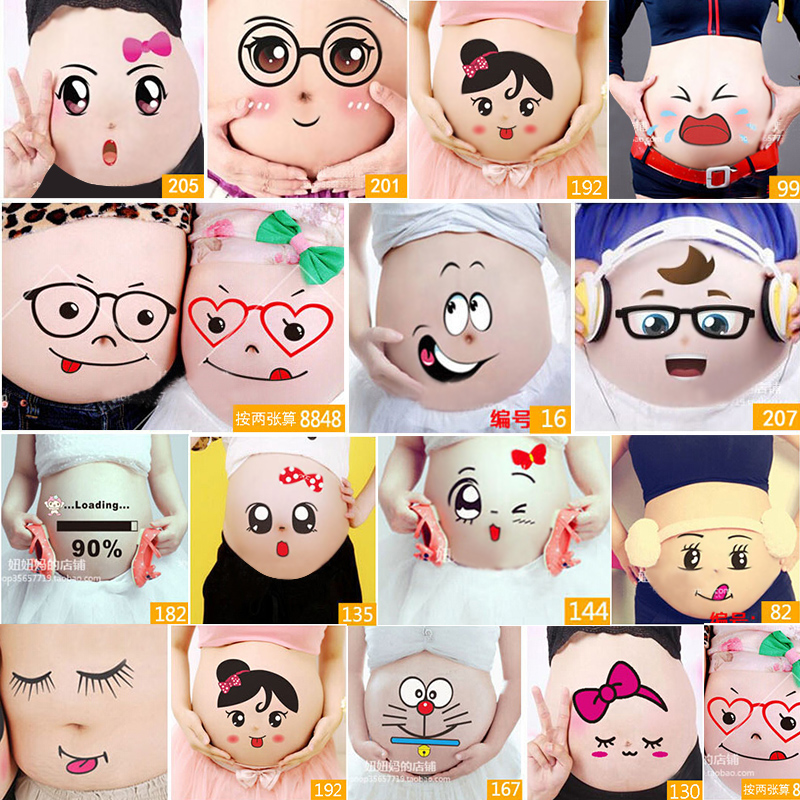 SMDPPWDBB For Pregnant Women Therapy Free Shipping Maternity Photo Props Pregnancy Photographs Belly Painting Photo Stickers