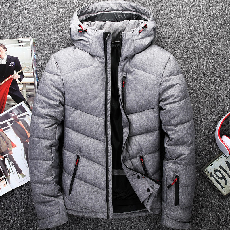 Down     coat   winter men   down   jacket thick slim outerwear with a hood male clothes