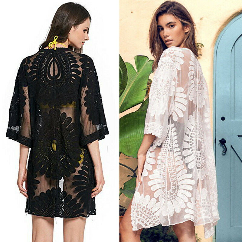 Bikini 2019 Women Beach Cover Up Embroidery Half Sleeve Chiffon Kimono Cardigan Cover-Ups Tops Black White Beach Wear