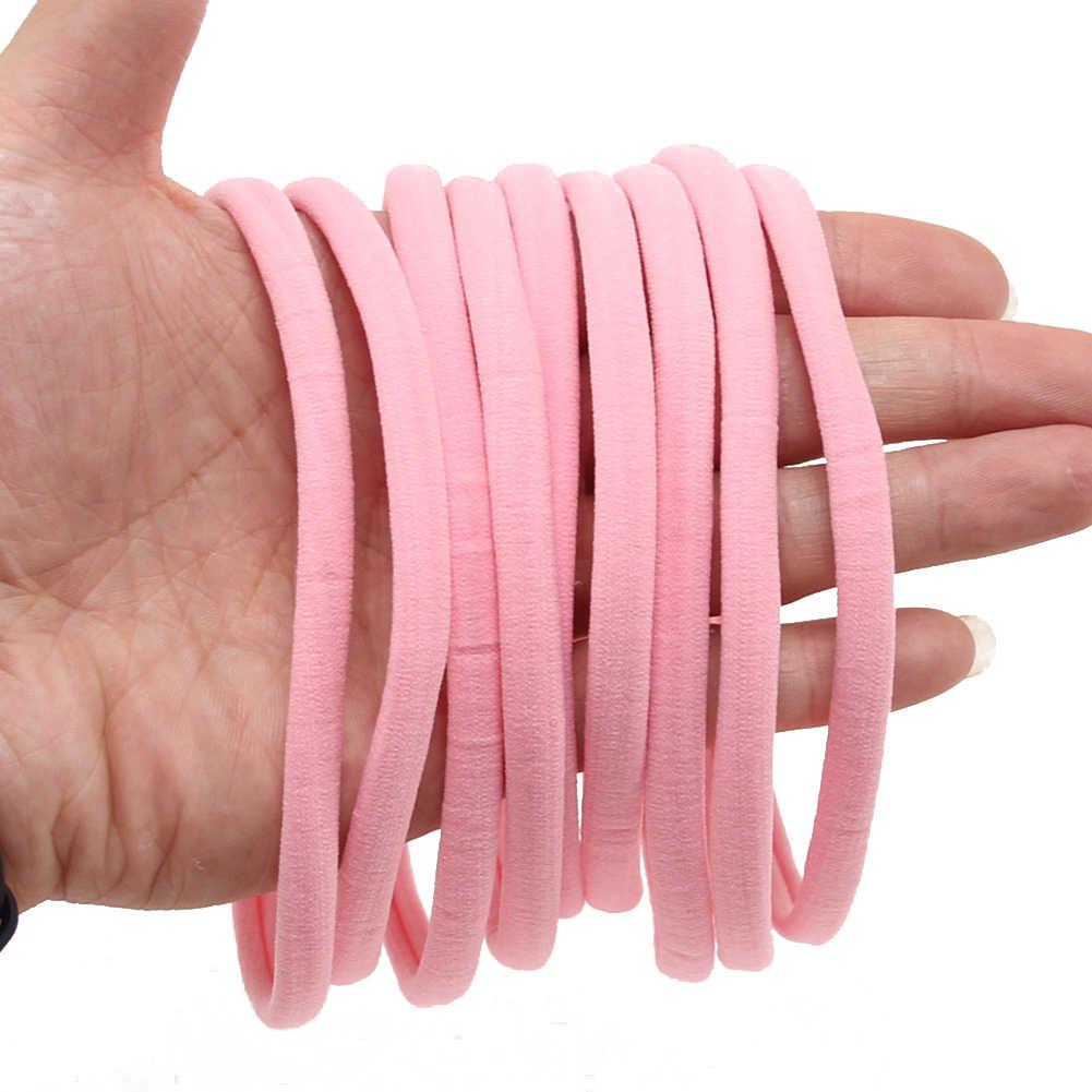 10 diademas suaves de nailon delgadas para bebé, bandas elásticas para el cabello DIY, bonitos y Bonitos colores lisos para niñas y niños, regalos accesorios para el cabello sin costura
