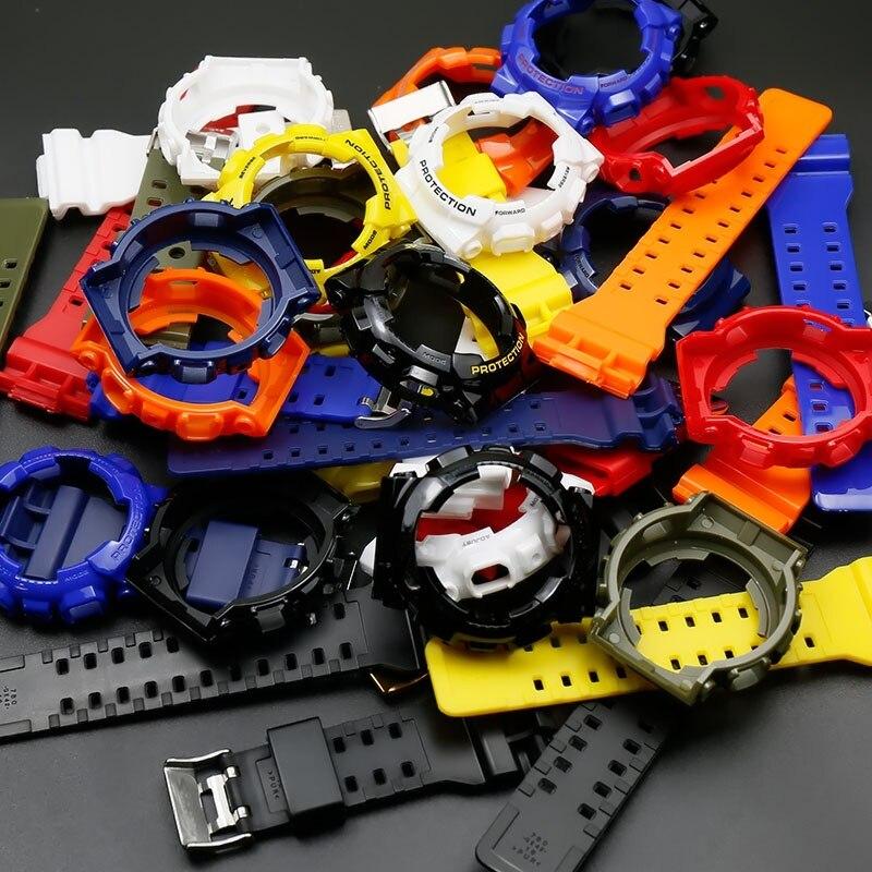 Accessories For Casio Watches G-SHOCK GD/GA110 GA/GD100 GD/GA120 Watch Men's Black Gold Black Warrior Glossy Resin Strap Case