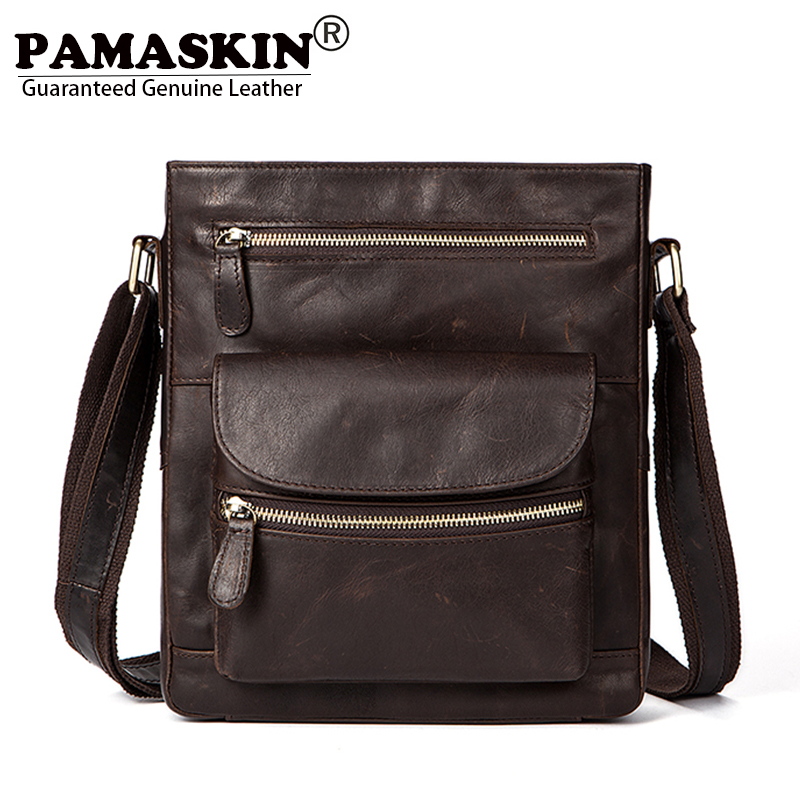 PAMASKIN Luxurious Crazy Horse Pattern Vintage Cow Leather Men Shoulder Bags Cross-body Bag 2018 New Arrivals Male Messenger Bag