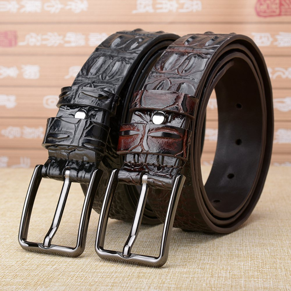 High Quality Crocordile Skin Shap Genuine Leather Belt Mens Black Pin Buckle Causal Jeans Strap 3D Cow Leather Male Belts Waist