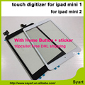 10 unids/lote envío rápido de dhl para ipad mini 1 mini 2 con adhesivo/etiqueta táctil digitalizador completa + ic conector + home botón