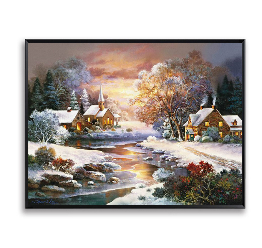 Diy Oil Painting By Numbers Snow River Sunset Cabin Wall Decor