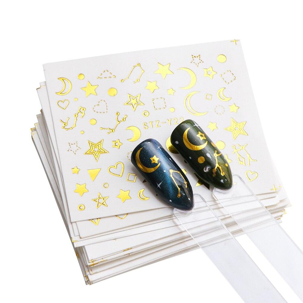 Золотые дизайнерские наклейки для ногтей, 20 шт./компл., кружевные цветы, Звёздные украшения для дизайна ногтей, Переводные картинки, аксессуары для маникюра, TRSTZ YY20|Стикеры и наклейки|   | АлиЭкспресс