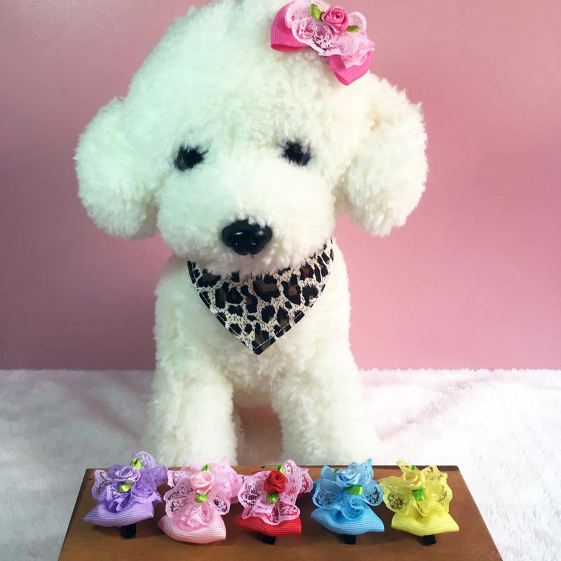 1 Pair Ribbon Flower Pet Hair Accessories 6 Colors Lace Dog Cat Hair Clips Length About 2 Inch Boutique Christmas Gift For Pet