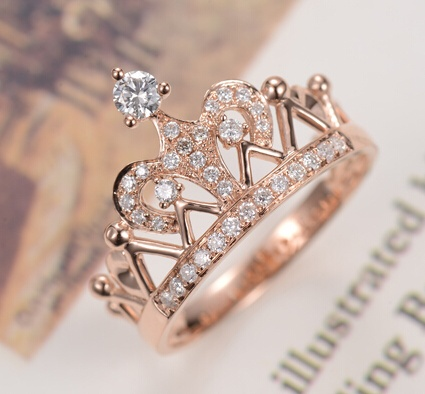 threeman imperial crown shape charming rose gold color no fade credible gorgeous engagement ring women wedding - Gorgeous Wedding Rings