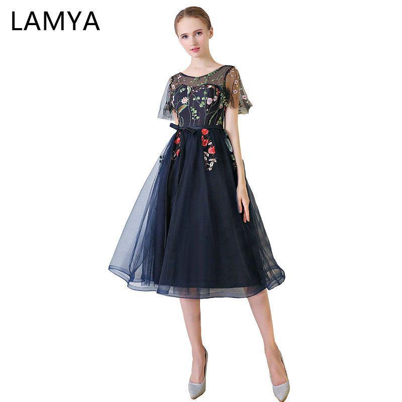 LAMYA Embroidery Chiffion   Prom     Dresses   2019 Candy Color Evening Party   Dress   Elegant Cap Sleeve Special Occasion Gowns For Women